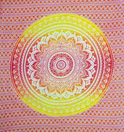 Tapestries Mandala - Yellow and Orange Tie-Dye - Tapestry 100629