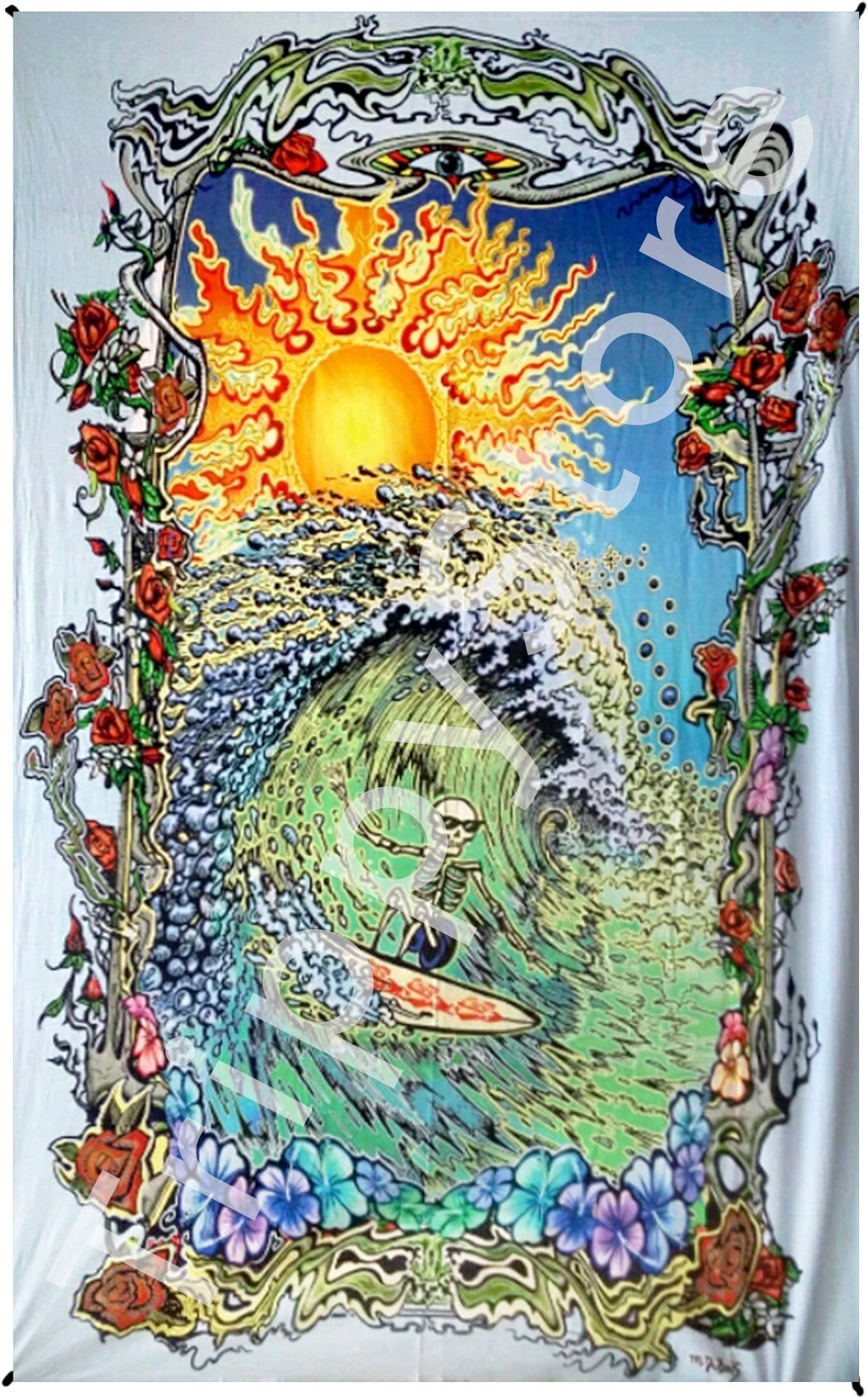 Tapestries Mike Dubois - Surfing Skeleton - Tapestry 013598