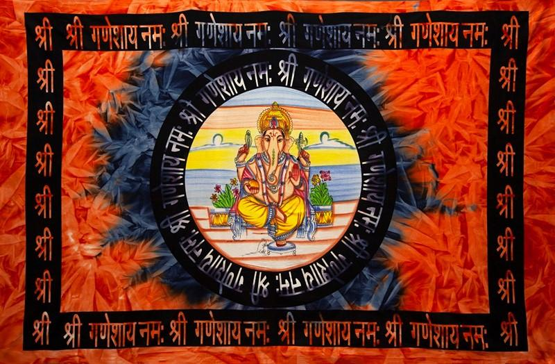 Tapestries Om Ganesha - Red Tie-Dye - Tapestry 100625