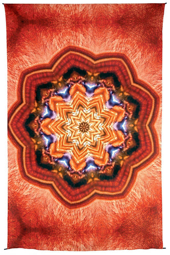 Tapestries Orange Kaleidoscope Mandala - Tapestry 100015