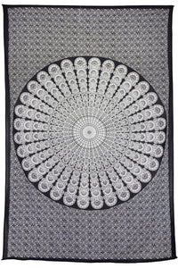 Tapestries Peacock Mandala - Black and White - Tapestry 100595