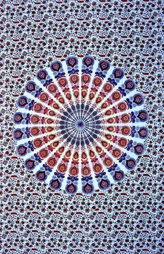 Tapestries Peacock Mandala - Blue and Red - Tapestry 009970