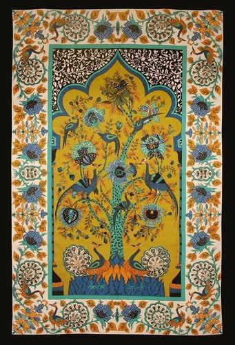 Tapestries Peacock Tree - White and Yellow - Tapestry 007406