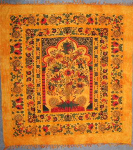 Tapestries Peacock Tree with Fringe - Gold - Tapestry 009991