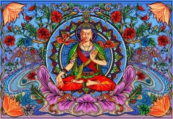 Tapestries Psychedelic Buddha Lotus - Tapestry 100876