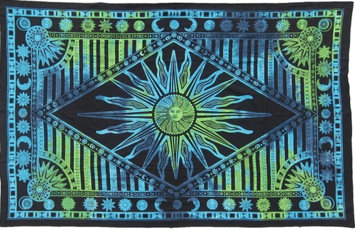 Tapestries Psychedelic Celestial Sun - Green and Blue Tie-Dye - Tapestry 100377