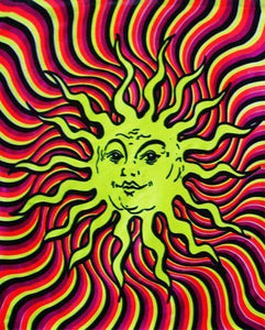 Tapestries Psychedelic Sun - Black Light Tapestry 001035