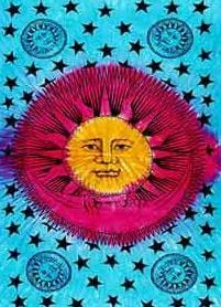 Tapestries Sun and Moon - Primary Tie-Dye - Tapestry 002268