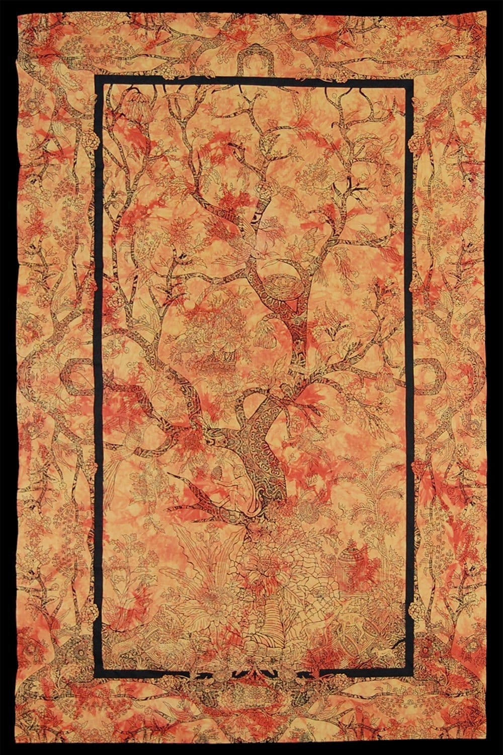 Tapestries Tree of Life - Orange Tie-Dye - Tapestry 100102