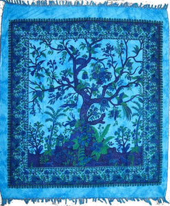 Tapestries Tree of Life with Fringe - Blue Tie-Dye - Tapestry 009621