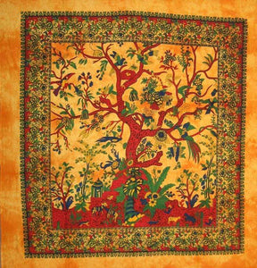 Tapestries Tree of Life with Fringe - Gold Tie-Dye - Tapestry 009620