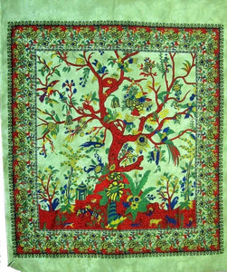 Tapestries Tree of Life with Fringe - Green Tie-Dye - Tapestry 009617