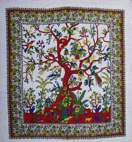 Tapestries Tree of Life with Fringe - Natural - Tapestry 009622