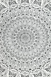 Tapestries Tropical Mandala - Black and White - Tapestry 100597