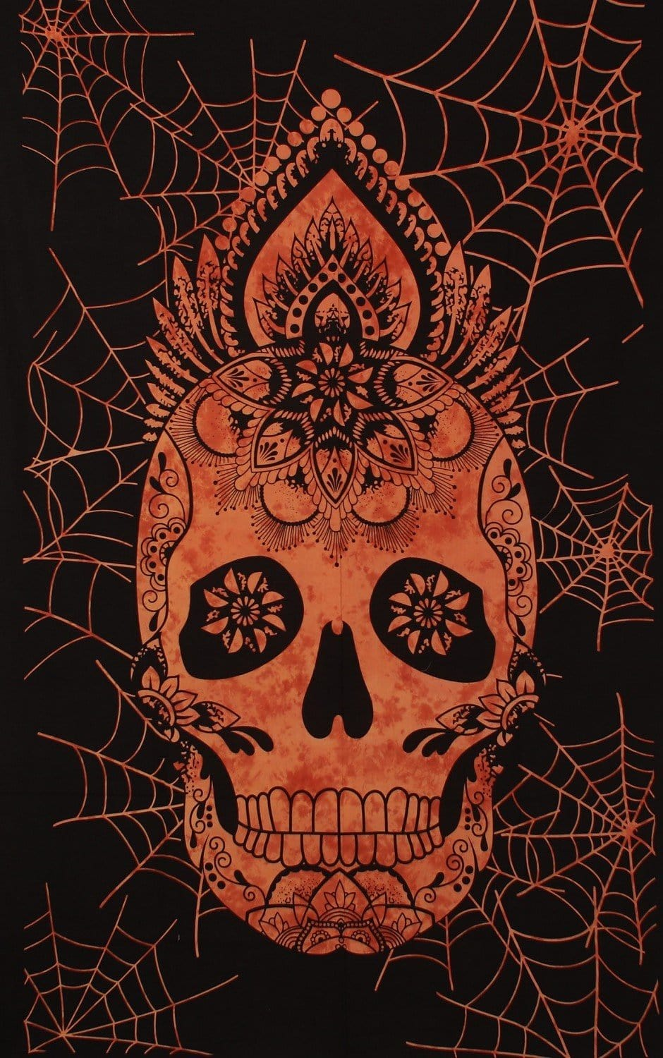 Tapestries Web Skull - Orange Tie-Dye - Tapestry 100584