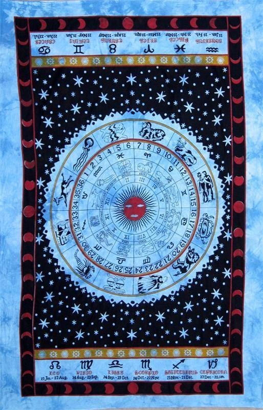 Tapestries Zodiac Astrology - Blue Tie-Dye - Tapestry 100198