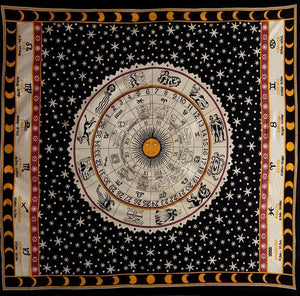 Tapestries Zodiac Astrology - Burgundy and Cream - Tapestry 100204