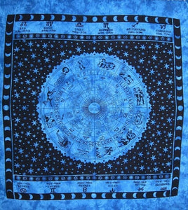 Tapestries Zodiac with Fringe - Blue - Tapestry 100200