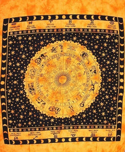 Tapestries Zodiac with Fringe - Gold - Tapestry 100201