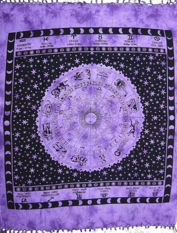 Tapestries Zodiac with Fringe - Purple - Tapestry 006147
