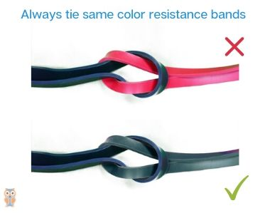 Always tie same color power loop resistance bands