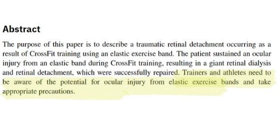 An abstract of warning issued regarding training with resistance bands in Ophthalmological Medicine published on Hindawi.jpg