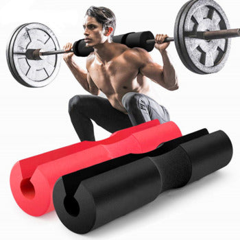 Athlete doing exercises with barbell rod pad
