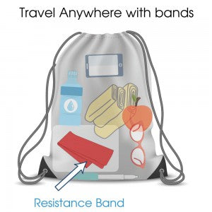 Resistance bands packed inside a travel bag for carrying anywhere while travelling