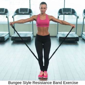 A woman doing shoulder raise with bungee style resistance band