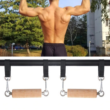 Hand grip pull up wooden bars