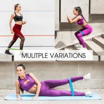 A women athlete doing the multiple variations of same exercises with the mini loop resistance bands