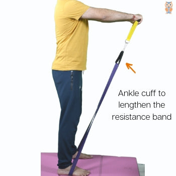Lengthening of resistance band using ankle cuff