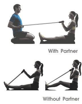 A woman doing biceps curl exercise using resistance strength band with and  without partner