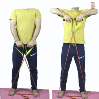 Shoulder raise exercise using power loop resistance bands with handles