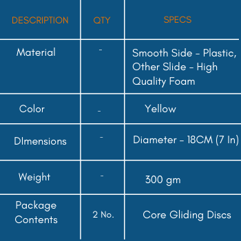 Specifications of Dual Sided Core Gliding Discs