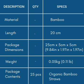 Specifications of Reusable Bamboo Drinking Straws