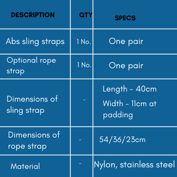 Specifications of abs sling strap for pull-up bars