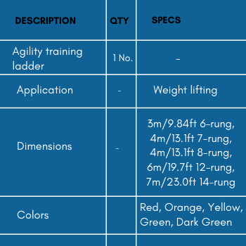 Specifications of agility training ladder for athletes