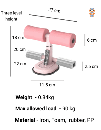 Specifications of double rod ankle support sit-up trainer