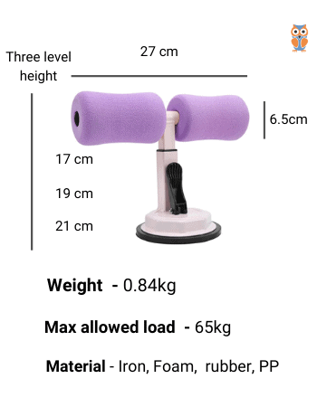 Specifications of single rod ankle support sit-up trainer
