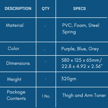 Specifications of thigh and arm toner