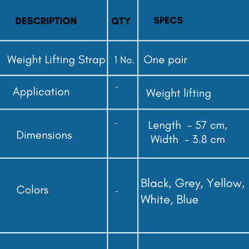Specifications of weight lifting strap