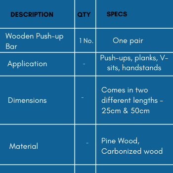 Specifications of wooden pull-up bar