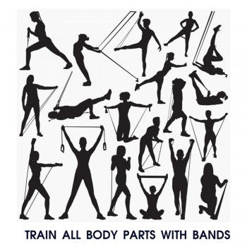 People doing the resistance rubber bands exercises for training multiple muscle groups of body