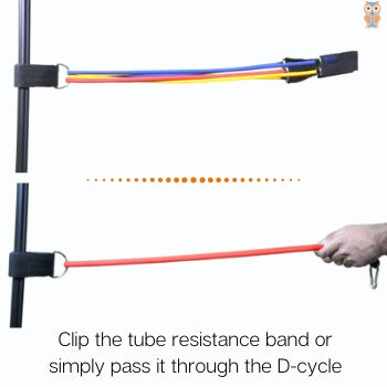 Tying tube resistance band around the pole with ankle cuff