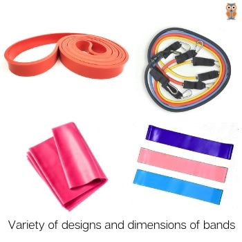 Variety of resistance bands based on the dimensions and designs