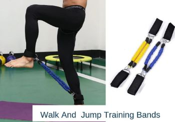 An athlete doing high knees exercise using walk and jump training band