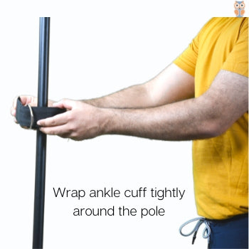 Wrap ankle cuff around the pole for tying resistance band