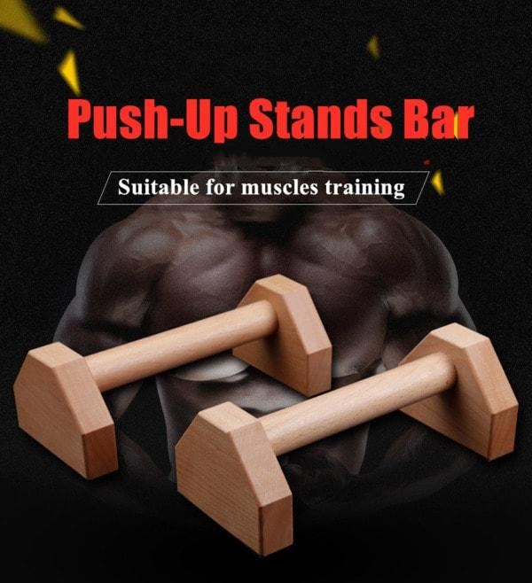 Wooden Push-up Bars - Wide And Stable Grip | Elevated - Unique Addict