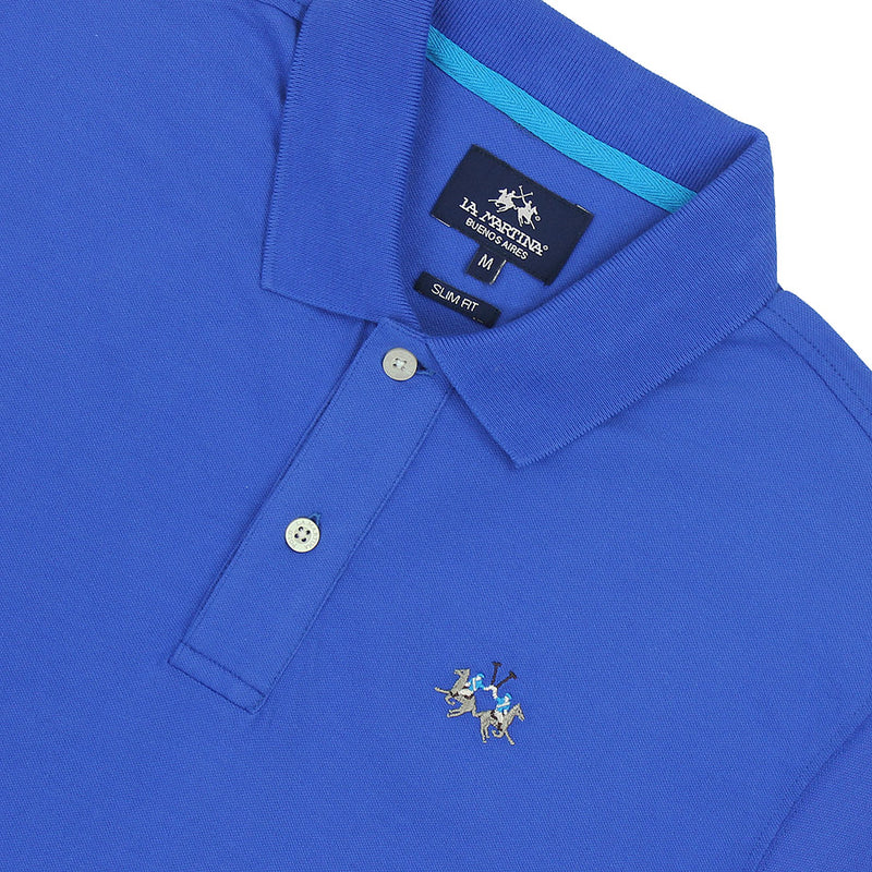 La Martina - Eduardo Slim Fit Pique Polo Shirt in Dazzling Blue - Nigel Clare